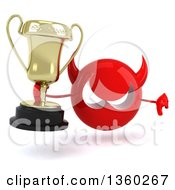 Clipart Of A 3d Red Devil Head Holding A Trophy And Giving A Thumb Down On A White Background Royalty Free Illustration