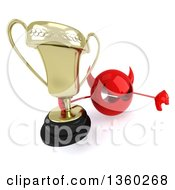 Clipart Of A 3d Red Devil Head Holding Up A Trophy And Giving A Thumb Down On A White Background Royalty Free Illustration