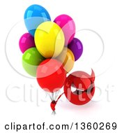 Clipart Of A 3d Red Devil Head Holding Up Party Balloons On A White Background Royalty Free Illustration