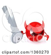 Clipart Of A 3d Red Devil Head Holding Up A Key On A White Background Royalty Free Illustration