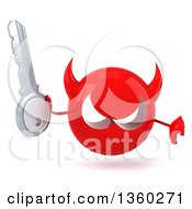 Clipart Of A 3d Red Devil Head Holding A Key And Giving A Thumb Down On A White Background Royalty Free Illustration