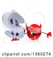 3d Red Devil Head Holding Up A Thumb Down And A Dollar Currency Symbol On A White Background