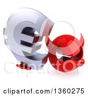 3d Red Devil Head Holding Up A Euro Currency Symbol On A White Background