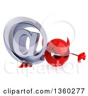 3d Red Devil Head Holding Up A Thumb Down And An Email Arobase At Symbol On A White Background