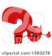3d Red Devil Head Holding Up A Thumb And A Question Mark On A White Background
