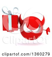3d Red Devil Head Holding A Gift And Giving A Thumb Down On A White Background