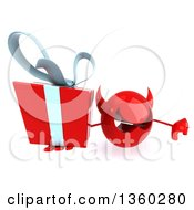 Clipart Of A 3d Red Devil Head Holding Up A Gift And Giving A Thumb Down On A White Background Royalty Free Illustration