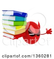 Clipart Of A 3d Red Devil Head Holding A Stack Of Books And Jumping On A White Background Royalty Free Illustration