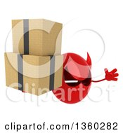 Clipart Of A 3d Red Devil Head Holding Boxes And Jumping On A White Background Royalty Free Illustration