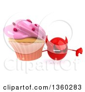 3d Red Devil Head Holding Up A Thumb Down And A Cupcake On A White Background