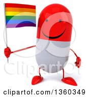 Clipart Of A 3d Happy Red And White Pill Character Holding A Rainbow Flag On A White Background Royalty Free Illustration