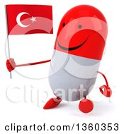 Clipart Of A 3d Happy Red And White Pill Character Holding A Turkish Flag And Walking On A White Background Royalty Free Illustration