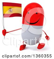 Clipart Of A 3d Happy Red And White Pill Character Holding A Spanish Flag And Walking On A White Background Royalty Free Illustration