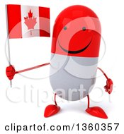 Clipart Of A 3d Happy Red And White Pill Character Holding A Canadian Flag On A White Background Royalty Free Illustration