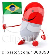 Clipart Of A 3d Happy Red And White Pill Character Holding A Brazilian Flag And Walking On A White Background Royalty Free Illustration