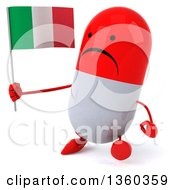 Clipart Of A 3d Unhappy Red And White Pill Character Holding An Italian Flag And Walking On A White Background Royalty Free Illustration