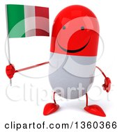 Clipart Of A 3d Happy Red And White Pill Character Holding An Italian Flag On A White Background Royalty Free Illustration