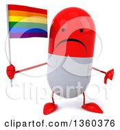 Clipart Of A 3d Unhappy Red And White Pill Character Giving A Thumb Down And Holding A Rainbow Flag On A White Background Royalty Free Illustration