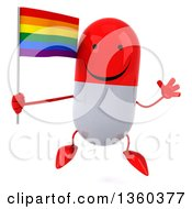 Clipart Of A 3d Happy Red And White Pill Character Holding A Rainbow Flag And Jumping On A White Background Royalty Free Illustration