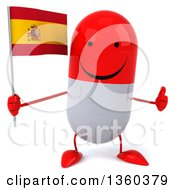 Clipart Of A 3d Happy Red And White Pill Character Holding A Spanish Flag And Giving A Thumb Up On A White Background Royalty Free Illustration