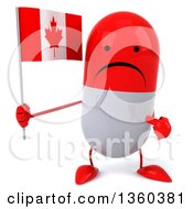 Clipart Of A 3d Unhappy Red And White Pill Character Holding And Pointing To A Canadian Flag On A White Background Royalty Free Illustration