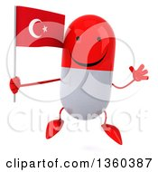 Clipart Of A 3d Happy Red And White Pill Character Holding A Turkish Flag And Jumping On A White Background Royalty Free Illustration