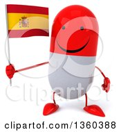 Clipart Of A 3d Happy Red And White Pill Character Holding A Spanish Flag On A White Background Royalty Free Illustration