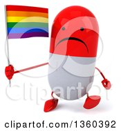 Clipart Of A 3d Unhappy Red And White Pill Character Holding A Rainbow Flag And Walking On A White Background Royalty Free Illustration