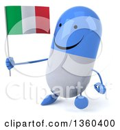Clipart Of A 3d Happy Blue And White Pill Character Holding An Italian Flag And Walking On A White Background Royalty Free Illustration
