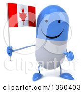 Clipart Of A 3d Happy Blue And White Pill Character Holding And Pointing To A Canadian Flag On A White Background Royalty Free Illustration