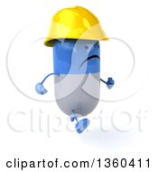 Clipart Of A 3d Unhappy Blue And White Pill Contractor Character Running On A White Background Royalty Free Illustration