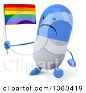 Clipart Of A 3d Unhappy Blue And White Pill Character Holding A Rainbow Flag And Walking On A White Background Royalty Free Illustration
