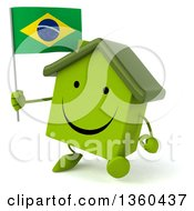 Clipart Of A 3d Happy Green House Character Holding A Brazilian Flag And Walking On A White Background Royalty Free Illustration
