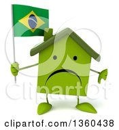 Clipart Of A 3d Unhappy Green House Character Holding A Brazilian Flag And Giving A Thumb Down On A White Background Royalty Free Illustration