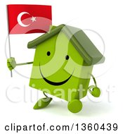 Clipart Of A 3d Happy Green House Character Holding A Turkish Flag And Walking On A White Background Royalty Free Illustration