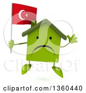 Clipart Of A 3d Unhappy Green House Character Holding A Turkish Flag And Jumping On A White Background Royalty Free Illustration