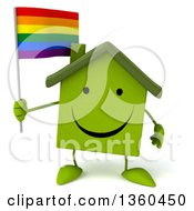 Clipart Of A 3d Happy Green House Character Holding A Rainbow Flag On A White Background Royalty Free Illustration