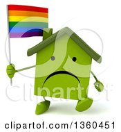 Clipart Of A 3d Unhappy Green House Character Holding A Rainbow Flag And Walking On A White Background Royalty Free Illustration
