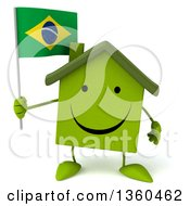 Clipart Of A 3d Happy Green House Character Holding A Brazilian Flag On A White Background Royalty Free Illustration
