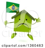 Clipart Of A 3d Unhappy Green House Character Holding A Brazilian Flag And Jumping On A White Background Royalty Free Illustration