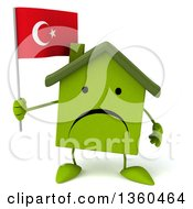 Clipart Of A 3d Unhappy Green House Character Holding A Turkish Flag On A White Background Royalty Free Illustration