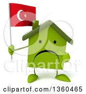 Clipart Of A 3d Unhappy Green House Character Holding And Pointing To A Turkish Flag On A White Background Royalty Free Illustration