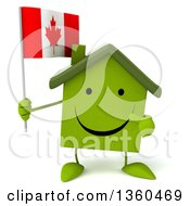 Clipart Of A 3d Happy Green House Character Holding And Pointing To A Canadian Flag On A White Background Royalty Free Illustration