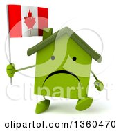 Clipart Of A 3d Unhappy Green House Character Holding A Canadian Flag And Walking On A White Background Royalty Free Illustration