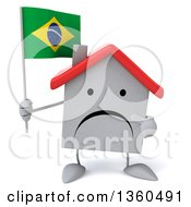 Clipart Of A 3d Unhappy White Home Character Holding And Pointing To A Brazilian Flag On A White Background Royalty Free Illustration