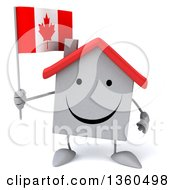 Clipart Of A 3d Happy White Home Character Holding A Canadian Flag On A White Background Royalty Free Illustration