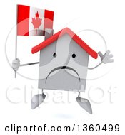 Clipart Of A 3d Unhappy White Home Character Holding A Canadian Flag And Jumping On A White Background Royalty Free Illustration