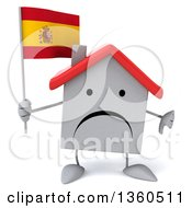 Clipart Of A 3d Unhappy White Home Character Holding A Spanish Flag And Giving A Thumb Down On A White Background Royalty Free Illustration