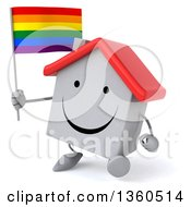 Clipart Of A 3d Happy White Home Character Holding A Rainbow Flag And Walking On A White Background Royalty Free Illustration