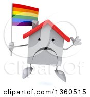 Clipart Of A 3d Unhappy White Home Character Holding A Rainbow Flag And Jumping On A White Background Royalty Free Illustration